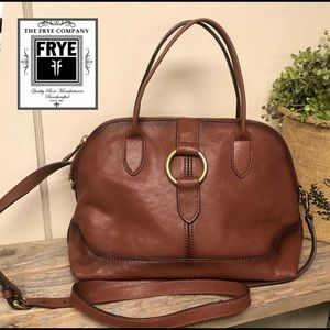 NEW!! Frye Ring Dome Cognac Leather Purse